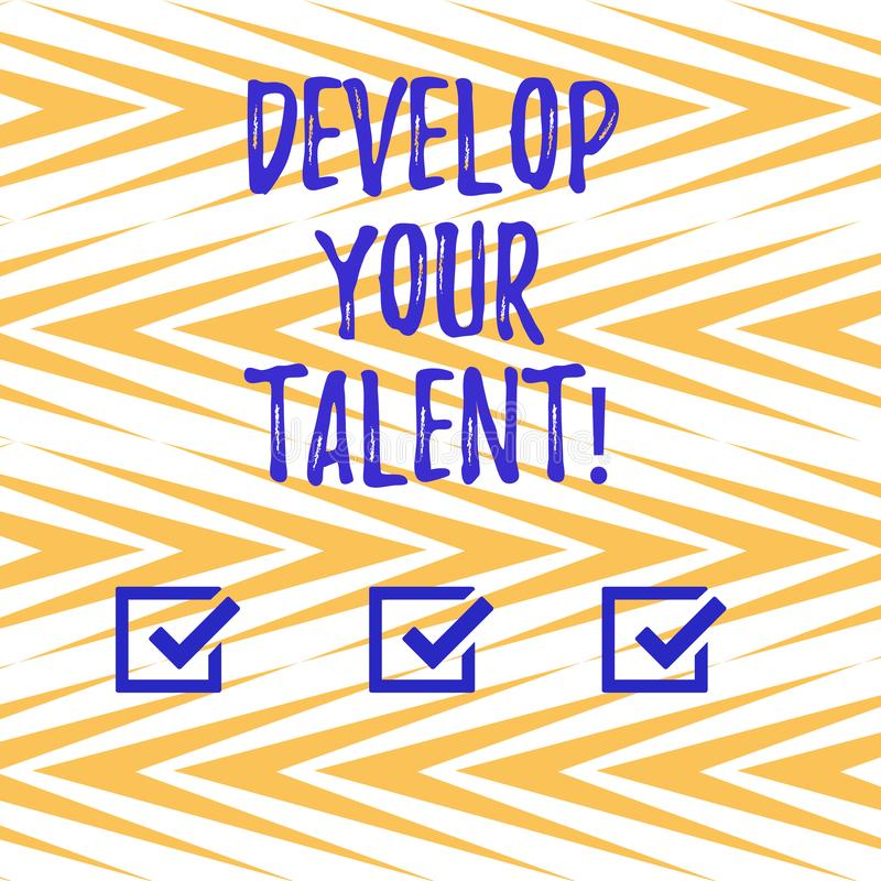 Handwriting text writing Develop Your Talent. Concept meaning improve natural aptitude or skill with effort and time. Vertical Zigzag Lines Alternate Color in stock illustration