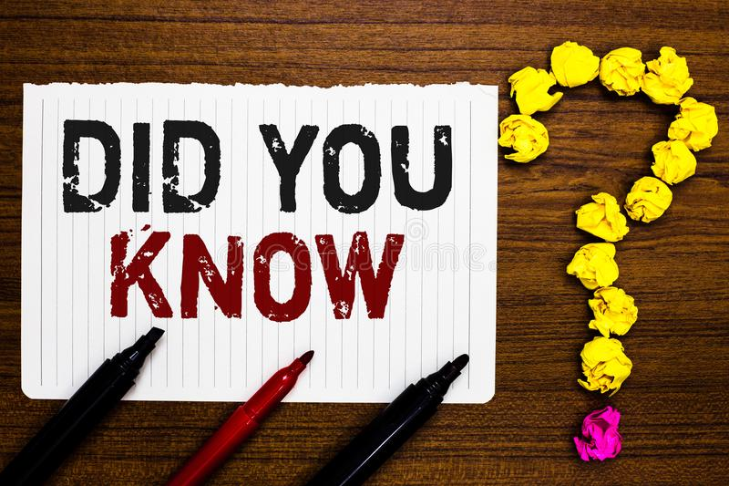 Handwriting text writing Did You Know. Concept meaning Knowing the next move Thinking Trivia Brainstorming Wondering Paper markers. Crumpled papers forming stock photography