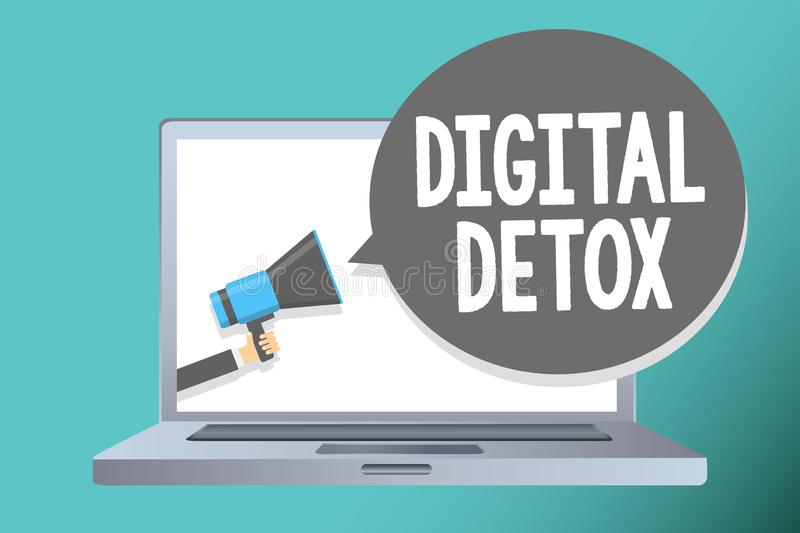 Handwriting text writing Digital Detox. Concept meaning Free of Electronic Devices Disconnect to Reconnect Unplugged Man holding m. Egaphone loudspeaker speech stock illustration