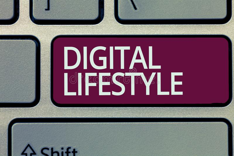 Handwriting text writing Digital Lifestyle. Concept meaning Working over the internet World of Opportunities stock photos