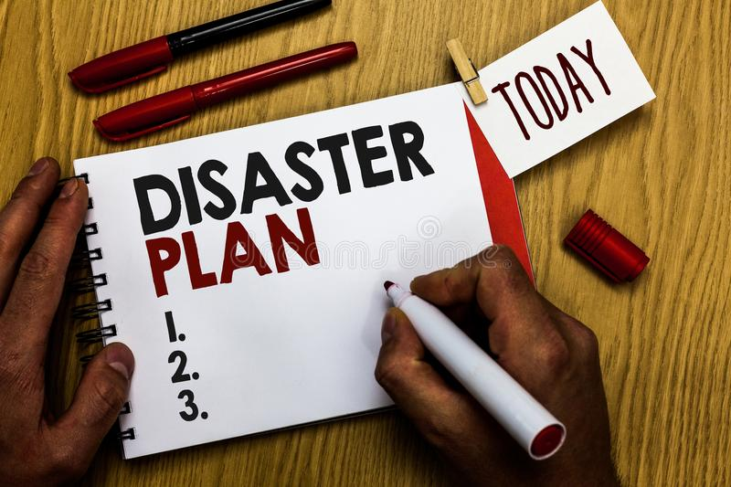 Handwriting text writing Disaster Plan. Concept meaning Respond to Emergency Preparedness Survival and First Aid Kit Man holding m. Arker notebook clothespin stock photography
