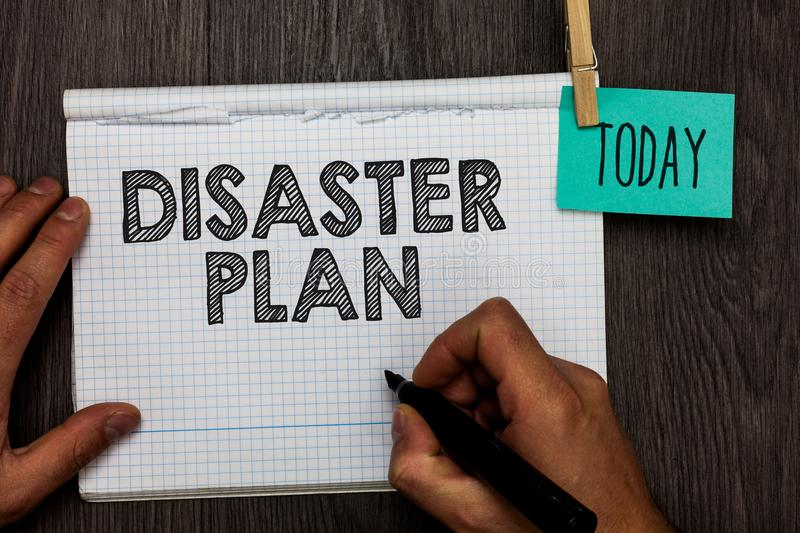 Handwriting text writing Disaster Plan. Concept meaning Respond to Emergency Preparedness Survival and First Aid Kit Open notebook. Clothespin holding reminder royalty free stock images