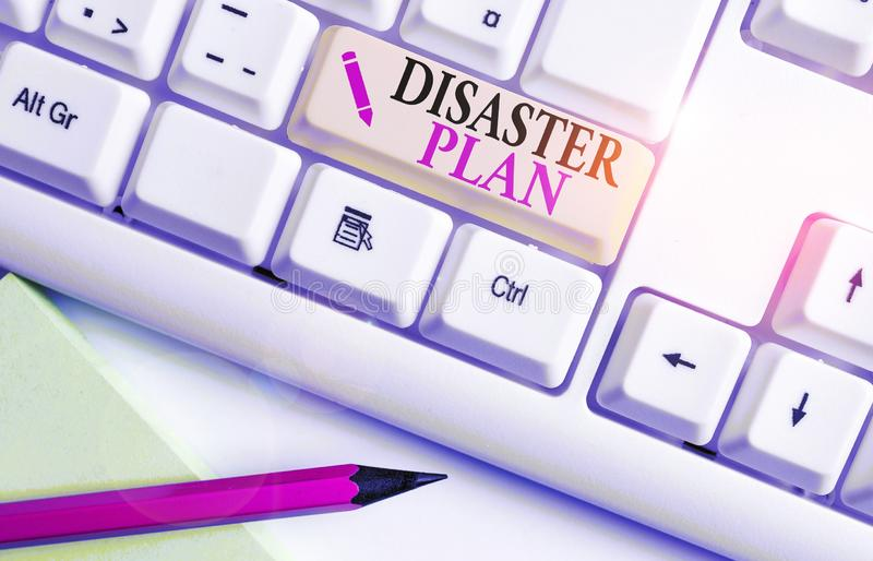 Handwriting text writing Disaster Plan. Concept meaning Respond to Emergency Preparedness Survival and First Aid Kit White pc. Handwriting text writing Disaster stock photography
