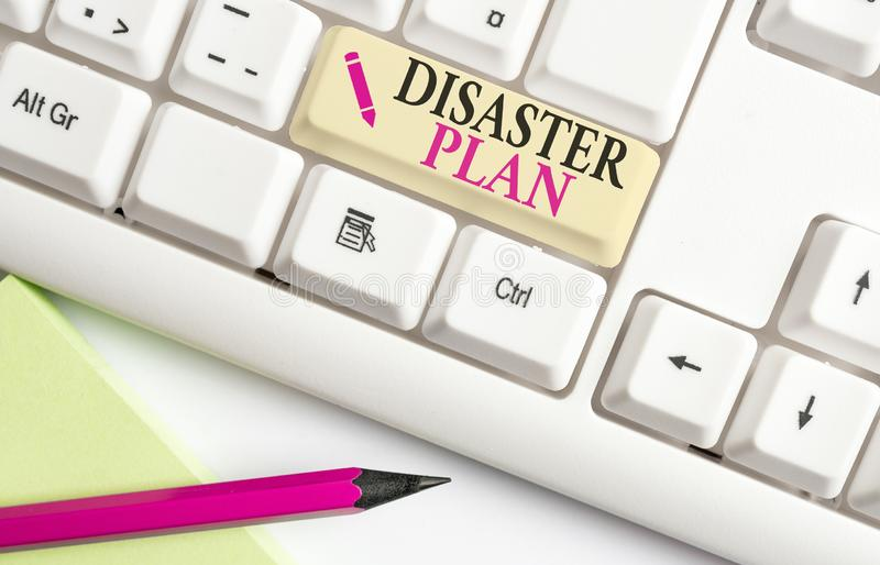 Handwriting text writing Disaster Plan. Concept meaning Respond to Emergency Preparedness Survival and First Aid Kit White pc. Handwriting text writing Disaster stock photos