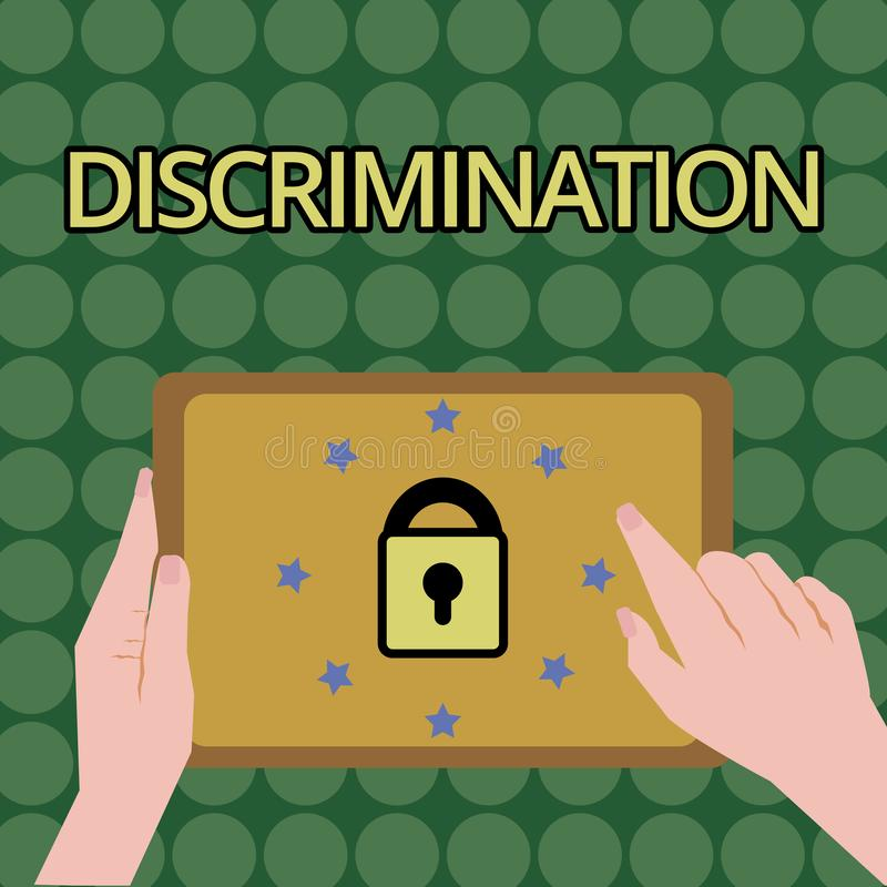 Handwriting text writing Discrimination. Concept meaning Prejudicial treatment of different categories of showing.  royalty free illustration