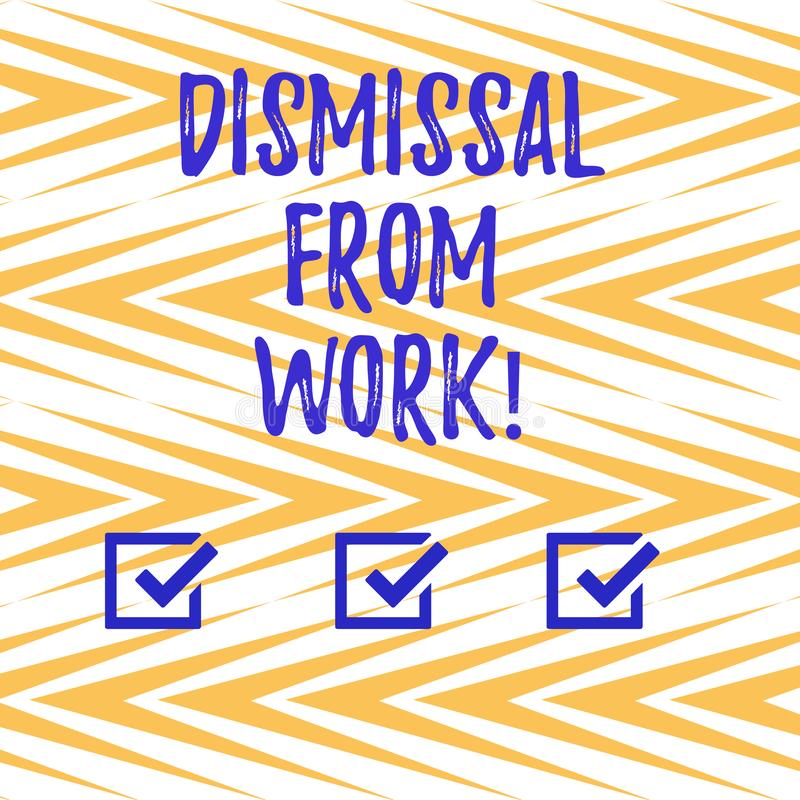 Handwriting text writing Dismissal From Work. Concept meaning Terminated from Employment for reason Get fired Vertical. Zigzag Lines Alternate Color in Seamless vector illustration