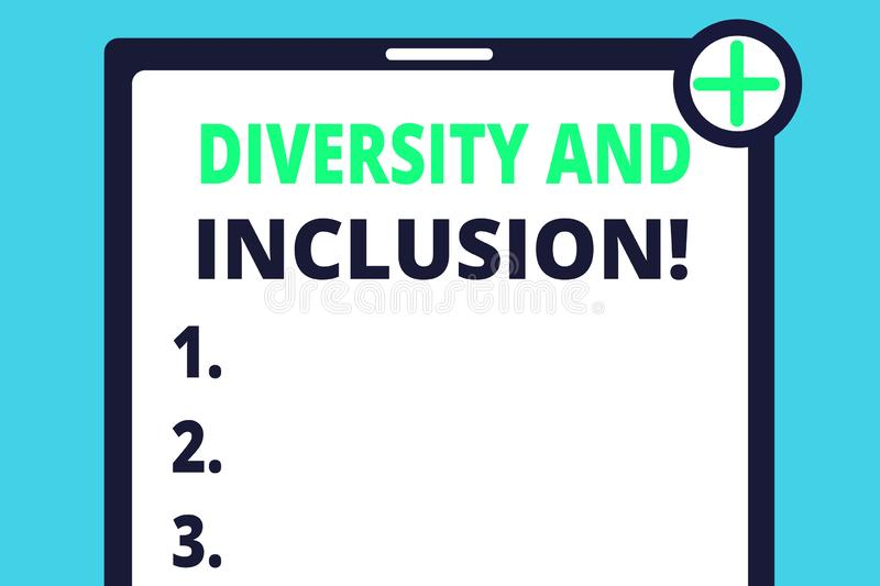 Handwriting text writing Diversity And Inclusion. Concept meaning range huanalysis difference includes race ethnicity. Handwriting text writing Diversity And royalty free illustration