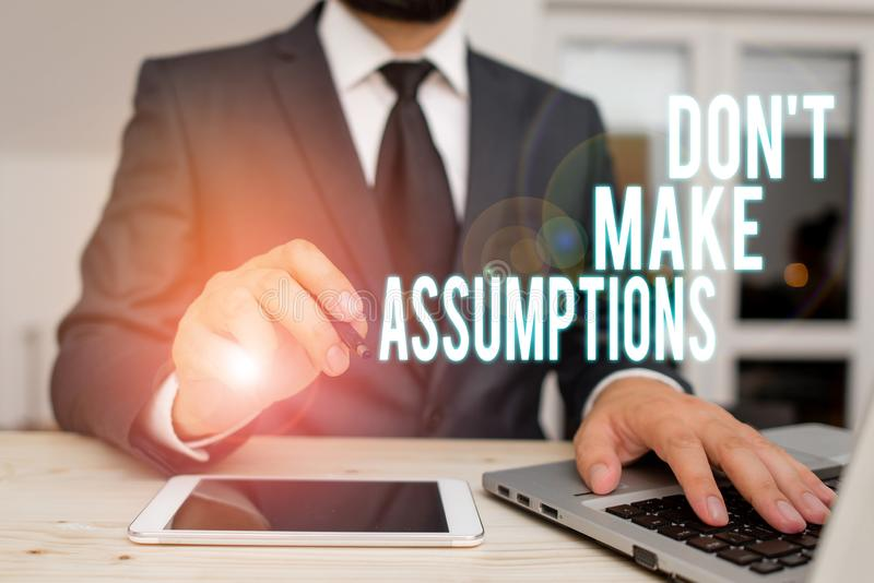 Handwriting text writing Don T Make Assumptions. Concept meaning putting plan in future with percentage happening. Handwriting text writing Don T Make royalty free stock photos