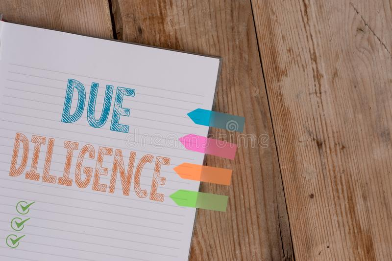 Handwriting text writing Due Diligence. Concept meaning Comprehensive Appraisal Voluntary Investigation Audit Striped. Handwriting text writing Due Diligence royalty free stock images