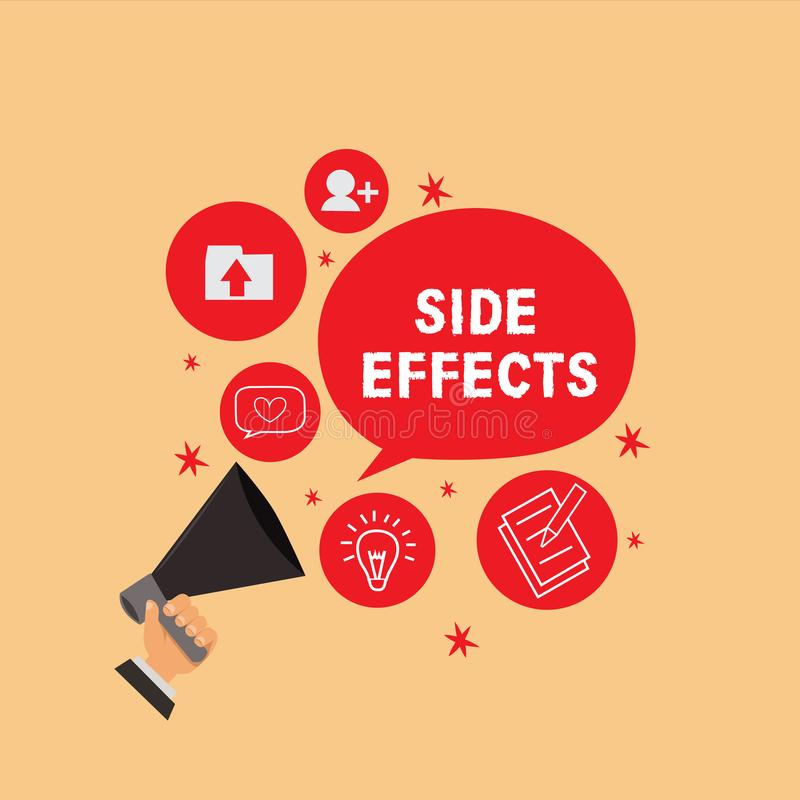 Handwriting text writing Side Effects. Concept meaning An unintended negative reaction to a medicine and treatment. Handwriting text writing e Effects. Concept vector illustration