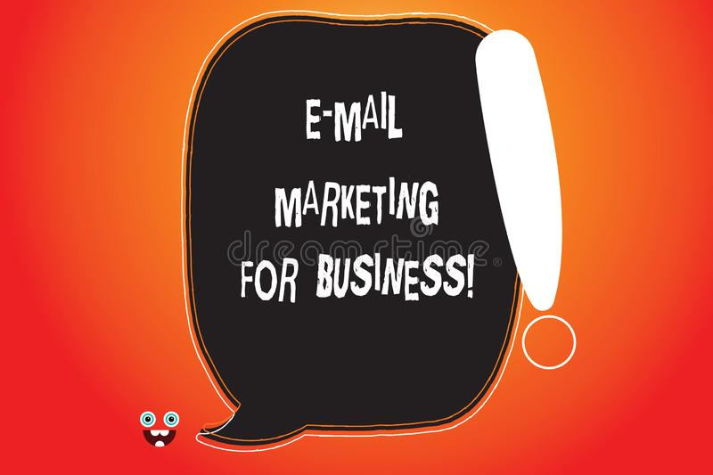 Handwriting text writing E Mail Marketing For Business. Concept meaning Mailing as advertising campaign strategies Blank Color. Speech Bubble Outlined with stock illustration