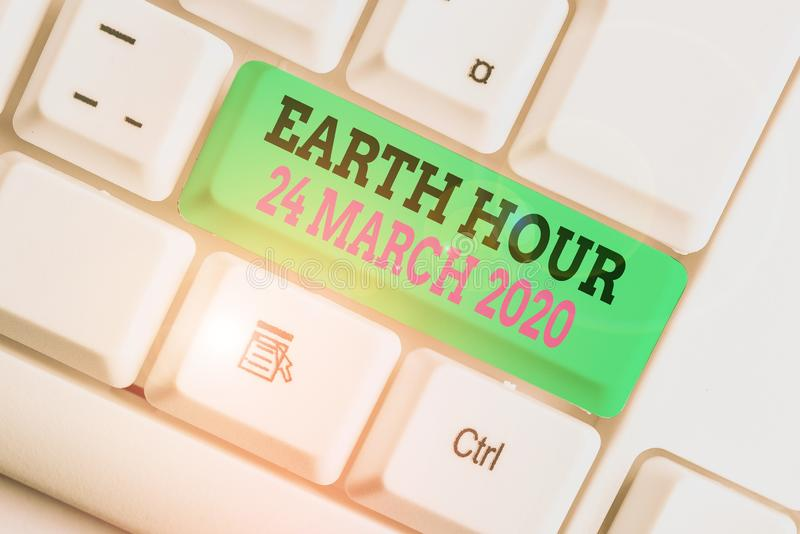 Handwriting text writing Earth Hour 24 March 2020. Concept meaning Celebrate Sustainability Save the Planet Lights Off. Handwriting text writing Earth Hour 24 stock photography