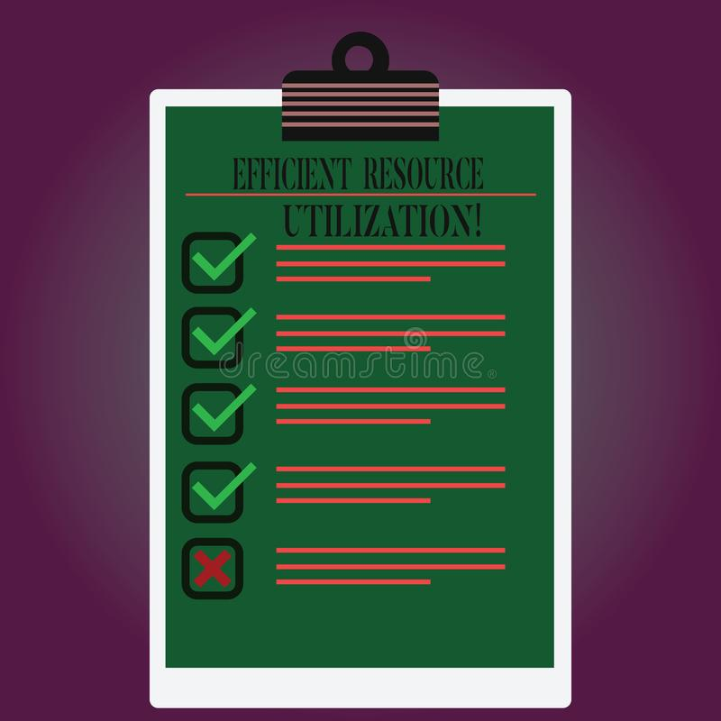 Handwriting text writing Efficient Resource Utilization. Concept meaning Maximizing the effectiveness and productivity. Lined Color Vertical Clipboard with vector illustration