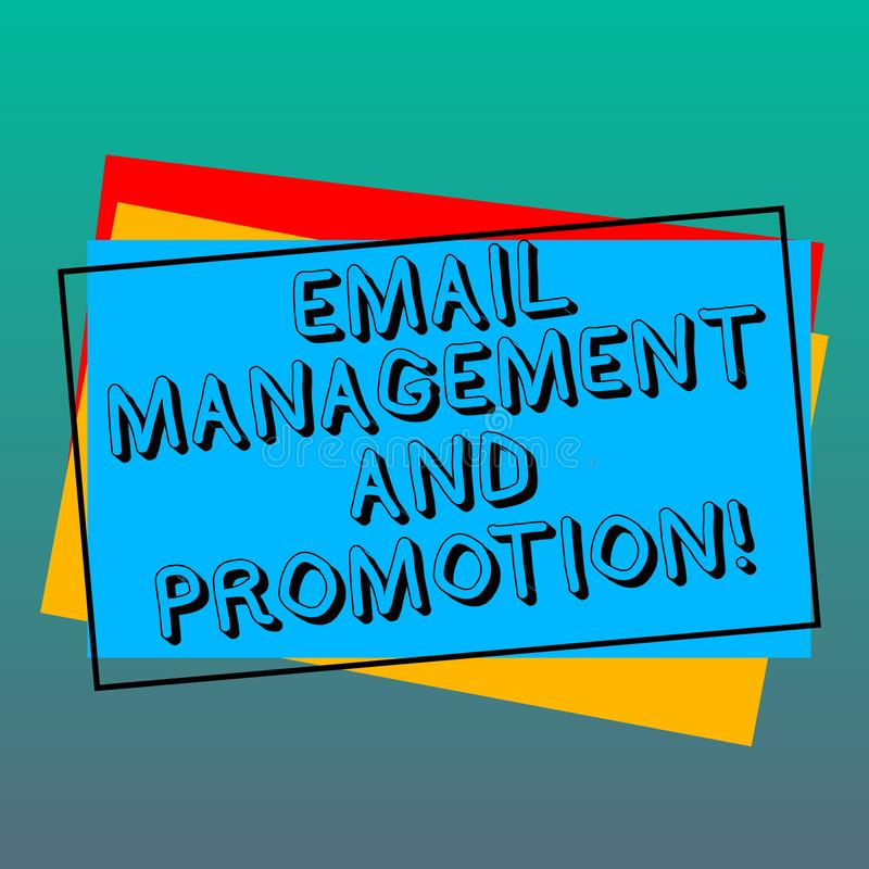 Handwriting text writing Email Management And Promotion. Concept meaning Mailing as advertising campaign strategies Pile. Of Blank Rectangular Outlined royalty free illustration