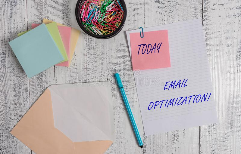 Handwriting text writing Email Optimization. Concept meaning Maximize the effectiveness of the marketing campaign. Handwriting text writing Email Optimization royalty free stock image
