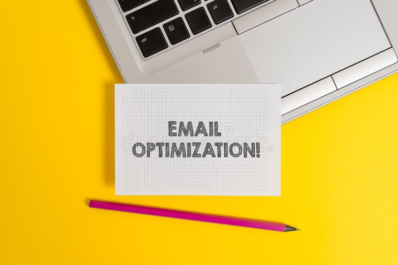Handwriting text writing Email Optimization. Concept meaning Maximize the effectiveness of the marketing campaign Top. Handwriting text writing Email royalty free stock photography
