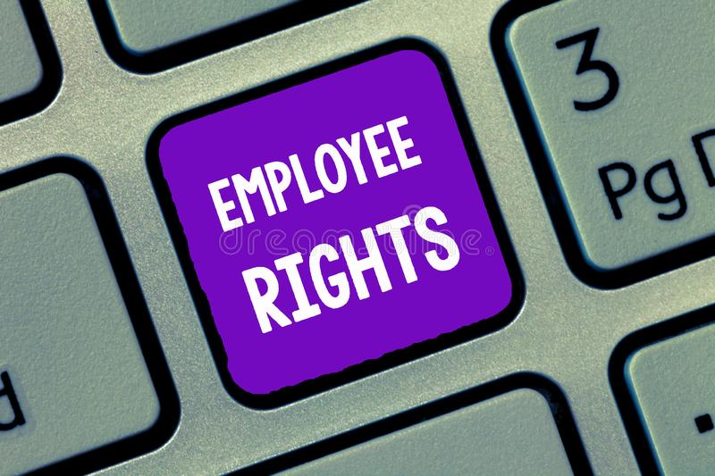 Handwriting text writing Employee Rights. Concept meaning All employees have basic rights in their own workplace.  royalty free stock photography
