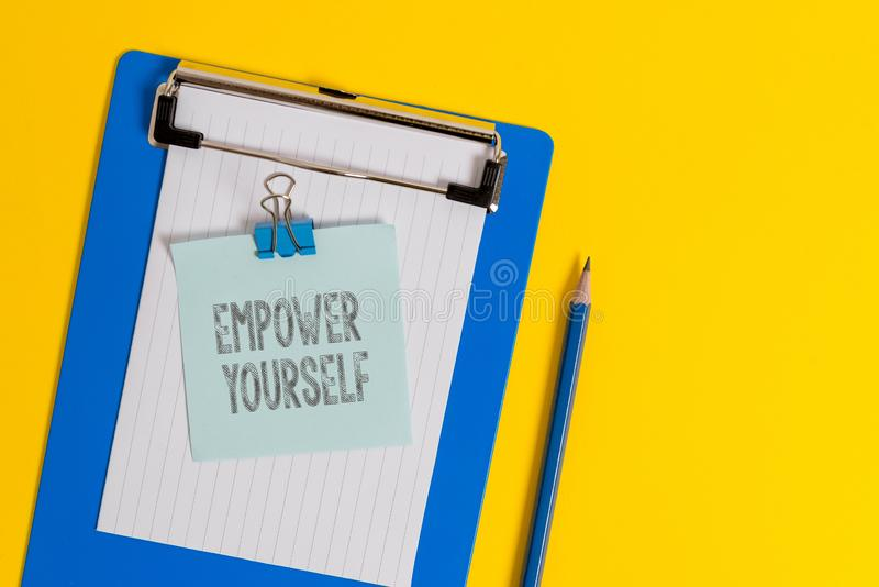Handwriting text writing Empower Yourself. Concept meaning taking control of life setting goals positive choices. Handwriting text writing Empower Yourself stock photos