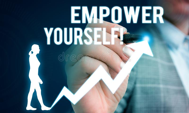 Handwriting text writing Empower Yourself. Concept meaning taking control of our life setting goals and making choices. Handwriting text writing Empower Yourself royalty free stock photography