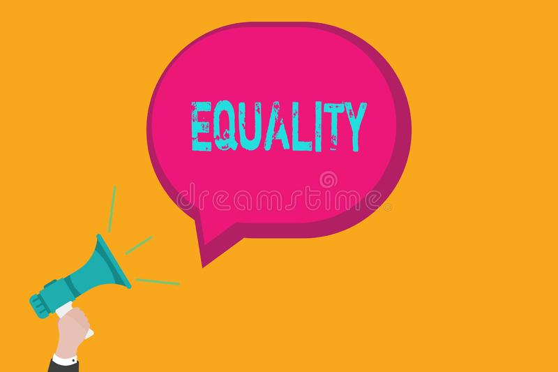 Handwriting text writing Equality. Concept meaning state of being equal especially in status rights or opportunities stock illustration