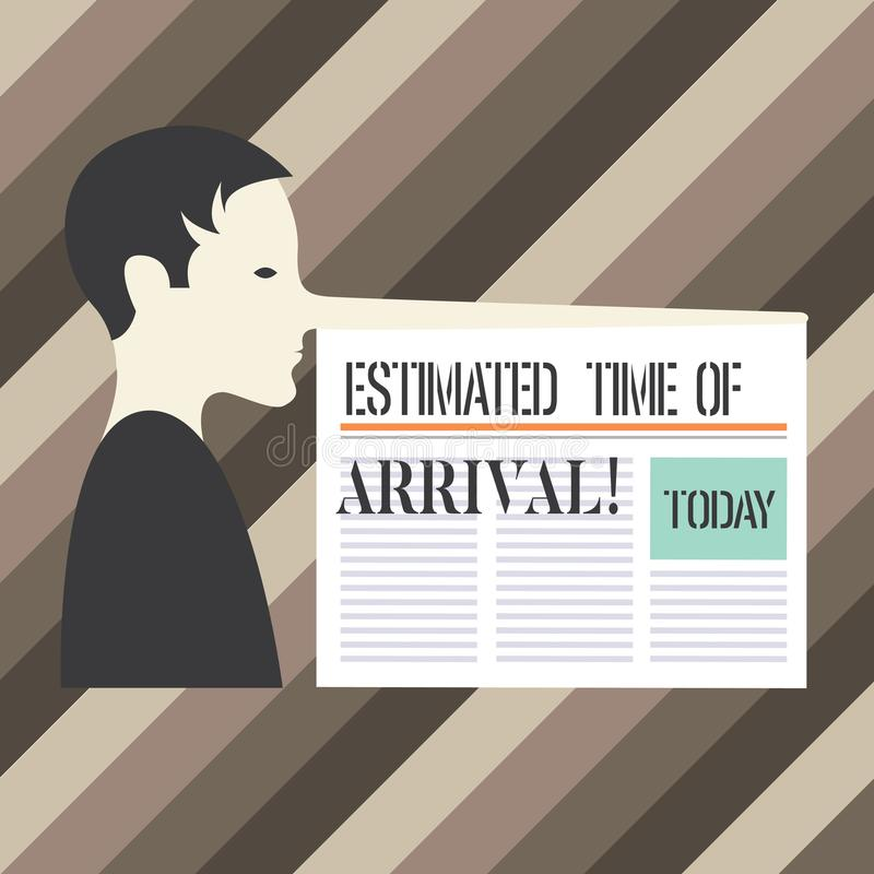 Handwriting text writing Estimated Time Of Arrival. Concept meaning Hours at which a flight is supposed to arrive Man. With a Very Long Nose like Pinocchio a vector illustration