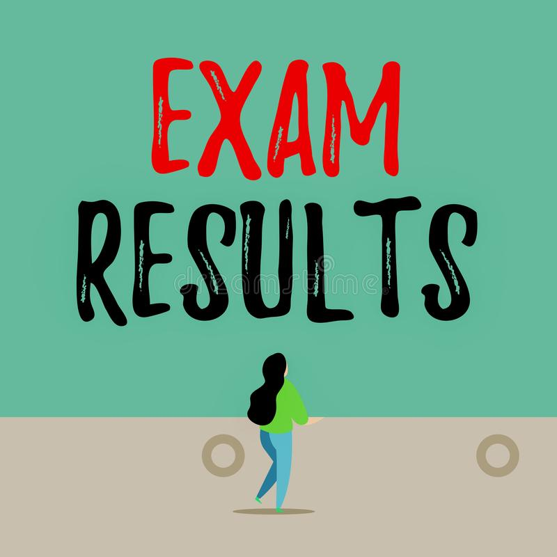 Handwriting text writing Exam Results. Concept meaning An outcome of a formal test that shows knowledge or ability Back. Handwriting text writing Exam Results royalty free illustration