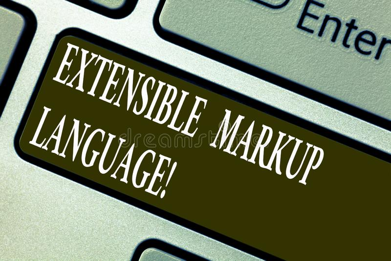 Handwriting text writing Extensible Markup Language. Concept meaning computer language that use tag to define element. Keyboard key Intention to create computer stock image