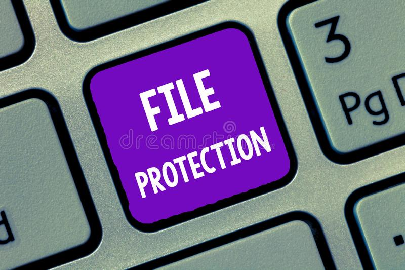 Handwriting text writing File Protection. Concept meaning Preventing accidental erasing of data using storage medium royalty free stock images