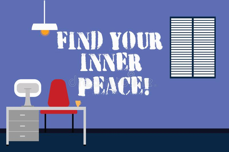 Handwriting text writing Find Your Inner Peace. Concept meaning Peaceful style of life Positivism Meditation Work Space. Minimalist Interior Computer and Study royalty free illustration
