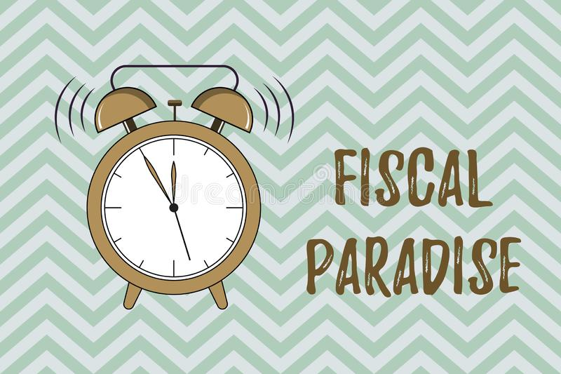 Handwriting text writing Fiscal Paradise. Concept meaning The waste of public money is a great concern topic.  vector illustration