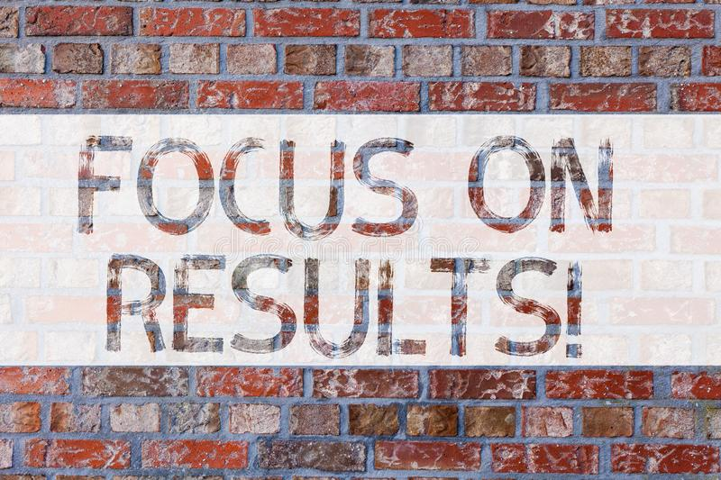 Handwriting text writing Focus On Results. Concept meaning key goals strategy to reach goal and ensure effectiveness. Brick Wall art like Graffiti motivational stock photo