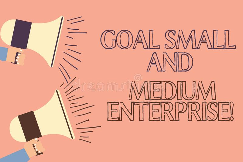 Handwriting text writing Goal Small And Medium Enterprise. Concept meaning SME growth of startups new business Two Hu analysis. Hand Holding Megaphone with royalty free illustration