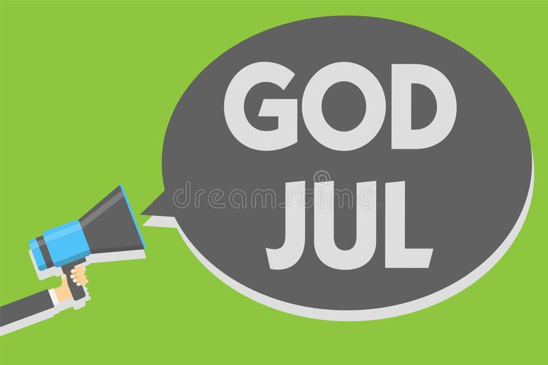 Handwriting text writing God Jul. Concept meaning Merry Christmas Greeting people for new year happy holidays Man holding megaphon. E loudspeaker speech bubble vector illustration
