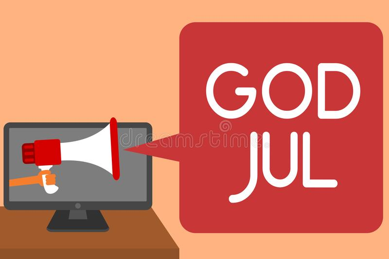 Handwriting text writing God Jul. Concept meaning Merry Christmas Greeting people for new year happy holidays Man holding Megaphon. E loudspeaker computer screen vector illustration