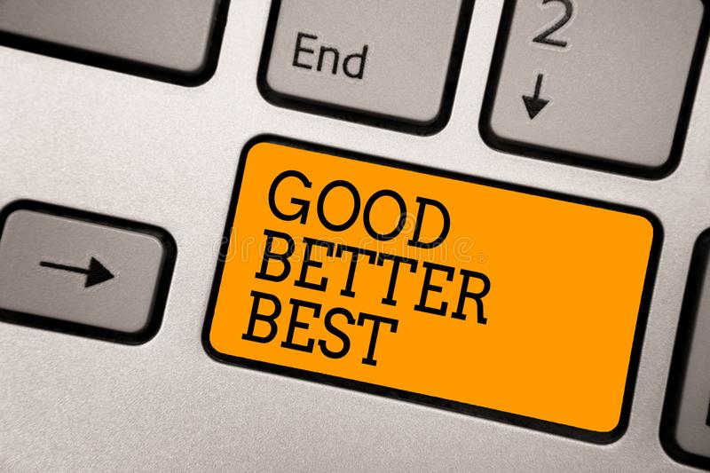 Handwriting text writing Good Better Best. Concept meaning Increase quality Improvement Achievement Excellence Typing work compute. R job program input keyboard royalty free stock photography