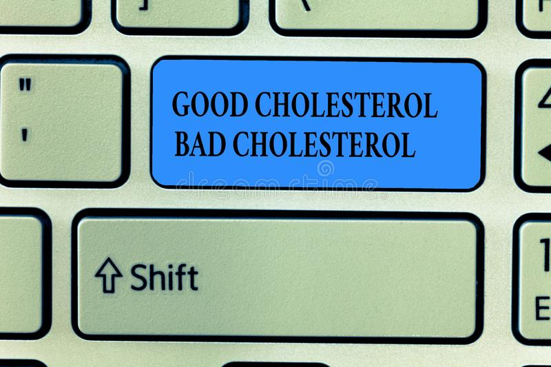 Handwriting text writing Good Cholesterol Bad Cholesterol. Concept meaning Fats in the blood come from the food we eat royalty free stock images