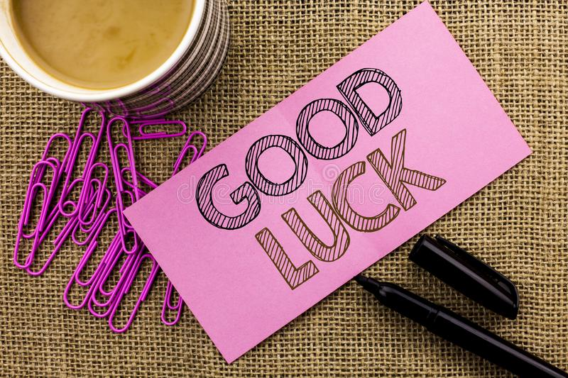 Handwriting text writing Good Luck. Concept meaning Lucky Greeting Wish Fortune Chance Success Feelings Blissful written on Pink S. Handwriting text writing Good stock photo