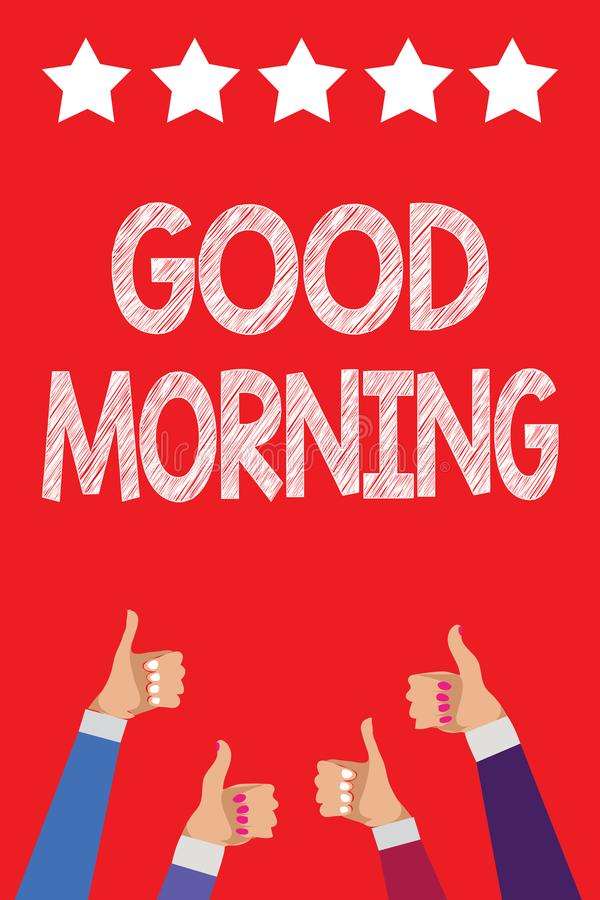 Handwriting text writing Good Morning. Concept meaning A conventional expression at meeting or parting in the morning Men women ha stock illustration