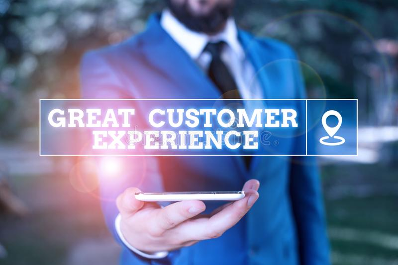 Handwriting text writing Great Customer Experience. Concept meaning responding to clients with friendly helpful way. Handwriting text writing Great Customer stock photo