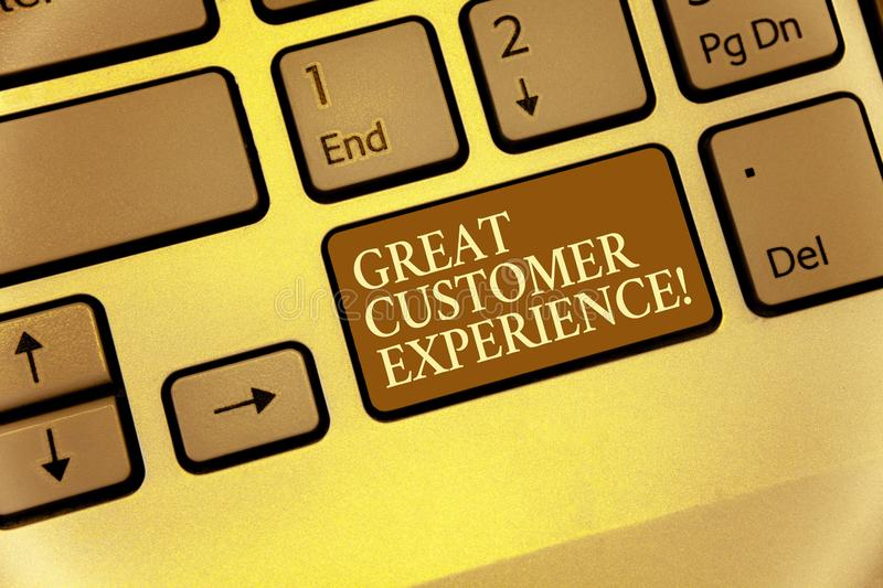 Handwriting text writing Great Customer Experience. Concept meaning responding to clients with friendly helpful way Keyboard brown. Key Intention create royalty free stock photography