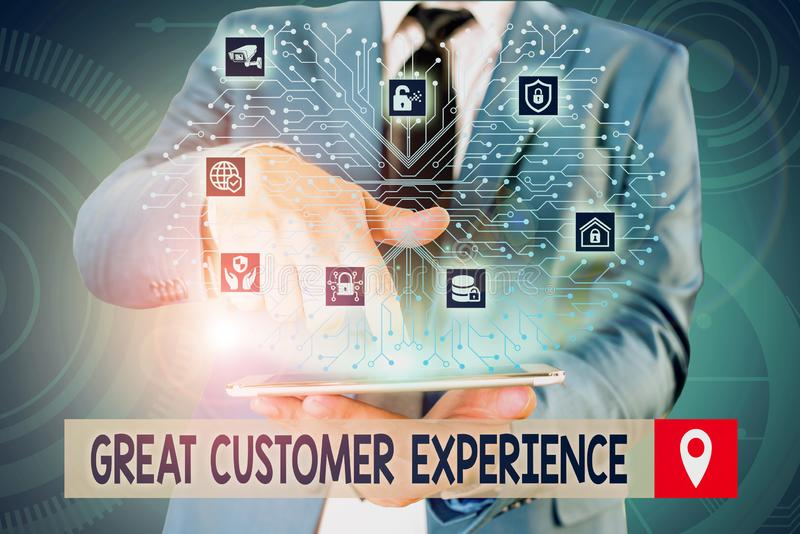 Handwriting text writing Great Customer Experience. Concept meaning responding to clients with friendly helpful way Male. Handwriting text writing Great Customer stock image