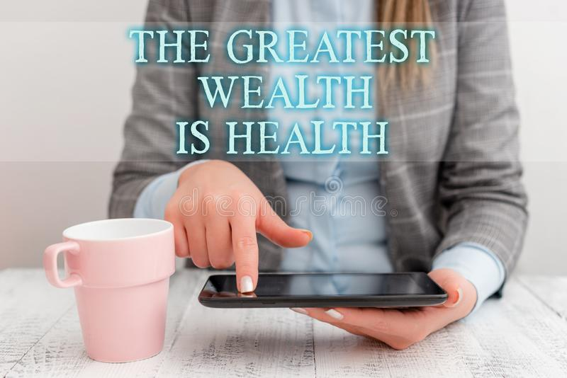 Handwriting text writing The Greatest Wealth Is Health. Concept meaning Many sacrifice their money just to be healthy. Handwriting text writing The Greatest vector illustration