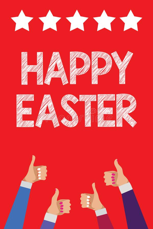 Handwriting text writing Happy Easter. Concept meaning Christian feast commemorating the resurrection of Jesus Men women hands thu royalty free illustration