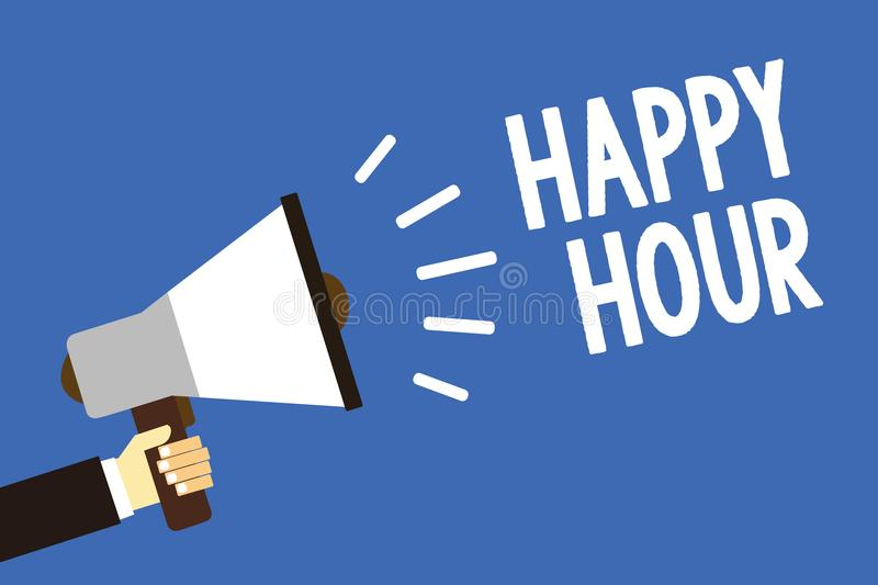 Handwriting text writing Happy Hour. Concept meaning Spending time for activities that makes you relax for a while Man holding meg. Aphone loudspeaker blue royalty free illustration