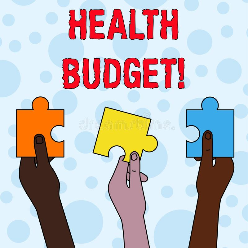 Handwriting text writing Health Budget. Concept meaning amount of money to support your health and wellbeing needs Three. Handwriting text writing Health Budget vector illustration