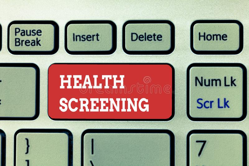Handwriting text writing Health Screening. Concept meaning targeted systematic action designed to identify diseases.  stock images
