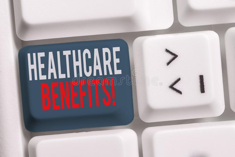 Handwriting text writing Healthcare Benefits. Concept meaning monthly fair market valueprovided to Employee dependents. Handwriting text writing Healthcare stock photos