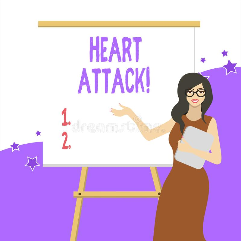 Handwriting text writing Heart Attack. Concept meaning sudden occurrence of coronary thrombosis resulting in death White. Handwriting text writing Heart Attack royalty free illustration
