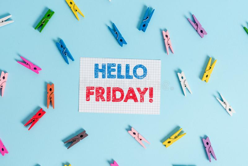 Handwriting text writing Hello Friday. Concept meaning you say this for wishing and hoping another good lovely week. Handwriting text writing Hello Friday stock photography