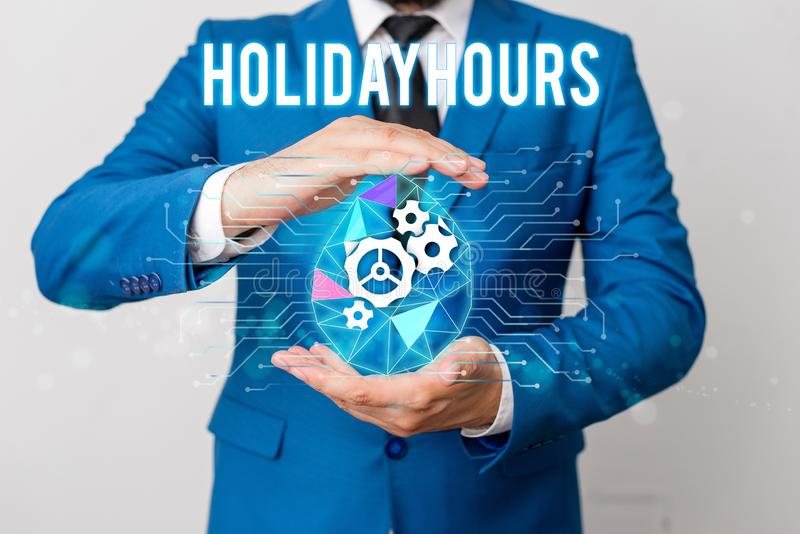 Handwriting text writing Holiday Hours. Concept meaning employee receives twice their normal pay for all hours Man net. Handwriting text writing Holiday Hours royalty free stock image
